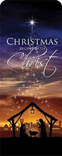 christmas begins christ banner - church banners