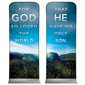 "For God So Loved Pair 2'7"" x 6'7"" Sleeve Banners"