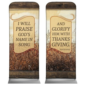 "Psalm 69:30 Wheat 2'7"" x 6'7"" Sleeve Banners"
