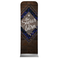 Savior Born Stained Glass Banner