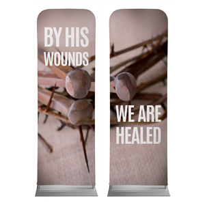 By His Wounds Pair 2 x 6 Sleeve Banner