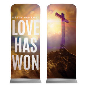 "Love Has Won Pair 2'7"" x 6'7"" Sleeve Banners"