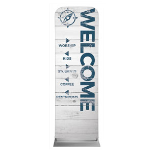 Shiplap White Directional 2 x 6 Sleeve Banner