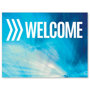 Chevron Welcome Blue Jumbo Banners