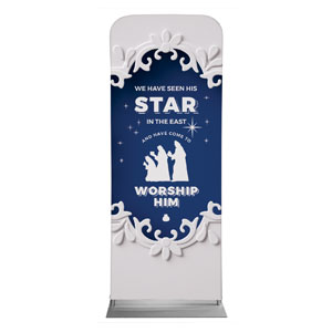 "Paper Cut Out Christmas Blue 2'7"" x 6'7"" Sleeve Banners"