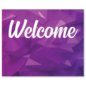 Welcome Purple Geometric Banners
