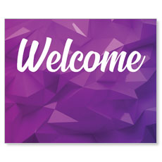 Welcome Purple Geometric Banner