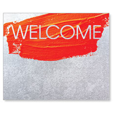 Welcome Orange Paint Stroke Banner