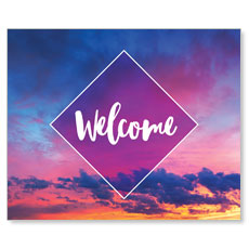 Purple Welcome Sky Banner