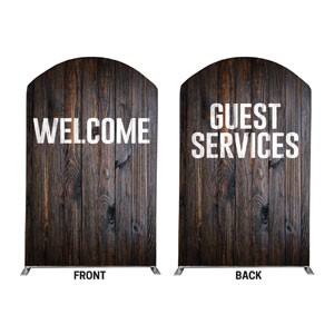 Dark Wood Welcome Guest Services 5' x 8' Curved Top Sleeve