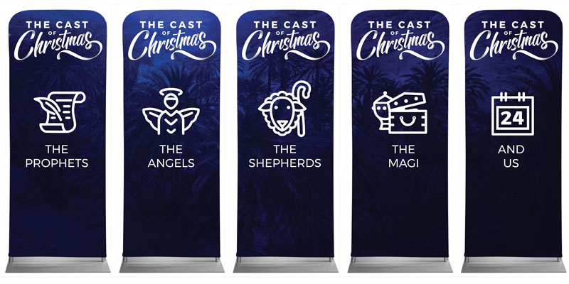 Banners, Christmas, The Cast of Christmas 5 Banner Set, 2'7 x 6'7