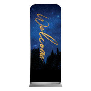 "Night Sky Gold Script Welcome 2'7"" x 6'7"" Sleeve Banners"