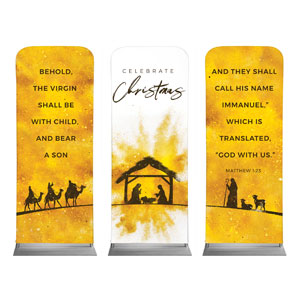 "Gold Powder Creche Triptych 2'7"" x 6'7"" Sleeve Banners"