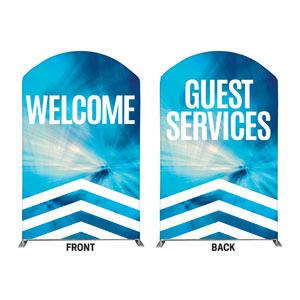 Chevron Blue Welcome Guest Services 5' x 8' Curved Top Sleeve
