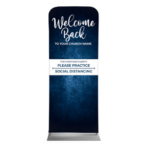"Blue Grunge Welcome Back Distancing 2'7"" x 6'7"" Sleeve Banners"