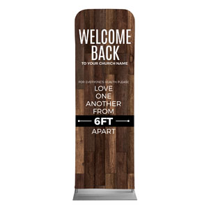 Walnut Welcome Back Distancing 2 x 6 Sleeve Banner