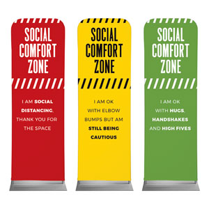 Social Comfort Zone Triptych 2 x 6 Sleeve Banner