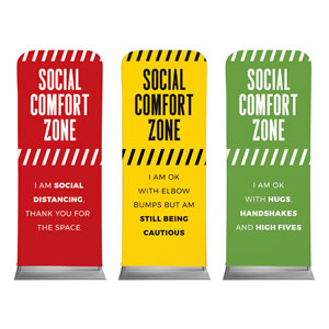 "Social Comfort Zone Triptych 2'7"" x 6'7"" Sleeve Banners"