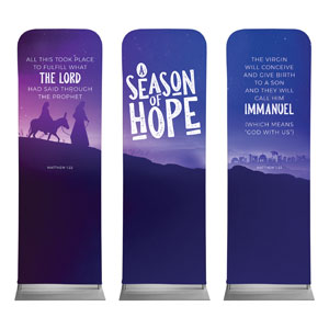 A Season Of Hope Purple Triptych 2 x 6 Sleeve Banner