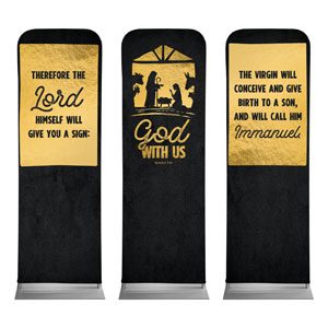 God With Us Gold Triptych 2 x 6 Sleeve Banner