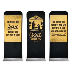 "God With Us Gold Triptych 2'7"" x 6'7"" Sleeve Banners"
