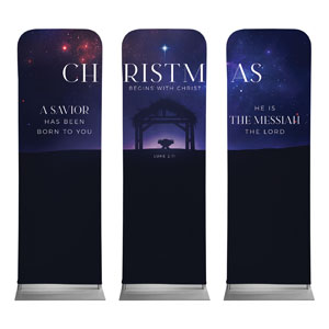Begins With Christ Manger Triptych 2 x 6 Sleeve Banner