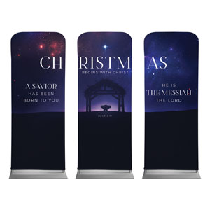 "Begins With Christ Manger Triptych 2'7"" x 6'7"" Sleeve Banners"