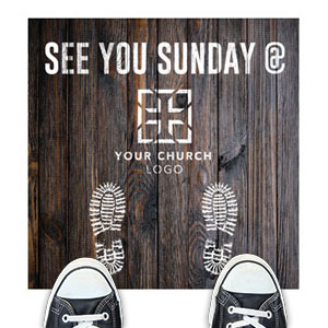 Dark Wood See You Sunday Floor Stickers