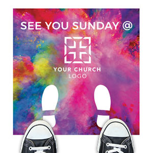 Back To Church Easter See You Sunday Floor Stickers