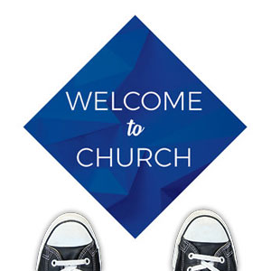 Blue Abstract Welcome To Church Floor Stickers