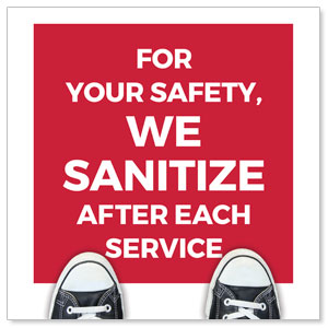 Red We Sanitize Floor Stickers