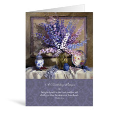 Purple Flowers Birthday Greeting Card