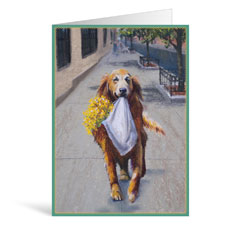 Dog Flowers Multi Greeting Card