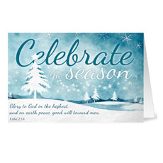 Blue Celebrate the Season Greeting Card