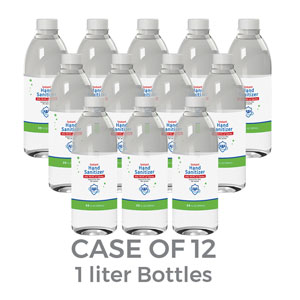 Liquid Hand Sanitizer 75 Percent Alcohol 1 Liter Refill Bottles (Case of 12) SpecialtyItems