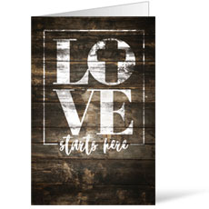 Love Starts Here Wood Bulletin