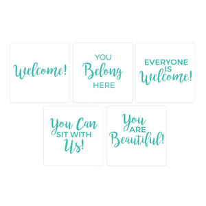 Turquoise Script Welcome Set Hand Held Handheld sign