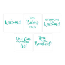 Turquoise Script Welcome Set Hand Held