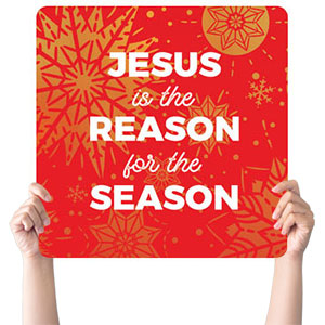Foil Snowflake Red Reason Handheld sign