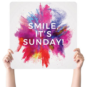Color Burst Smile Handheld sign