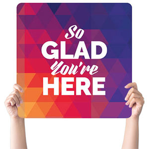Geometric Bold Glad Handheld sign
