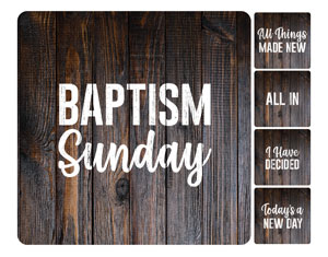 Dark Wood Baptism Set Handheld sign