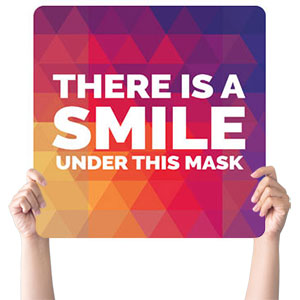 Geometric Bold Smile Mask Handheld sign