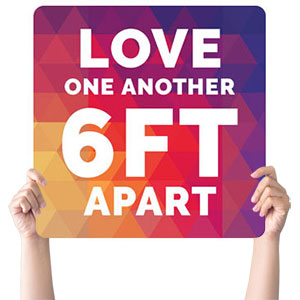 Geometric Bold Love One Another Handheld sign
