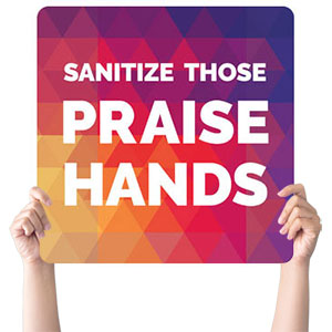 Geometric Bold Praise Hands Handheld sign