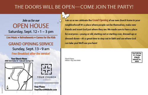 grand opening people postcard church postcards outreach marketing