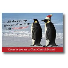 Christmas Penguins Postcard
