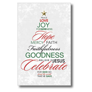 Christmas Word Tree Church Postcards