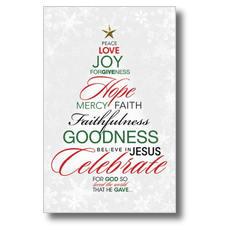 Christmas Word Tree Postcard