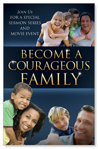 Courageous Family Blue Church Postcards